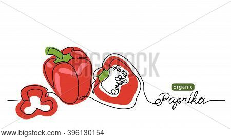 Paprika, Bell Pepper, Red Sweet Pepper Vector Illustration. One Line Drawing Art Illustration With L