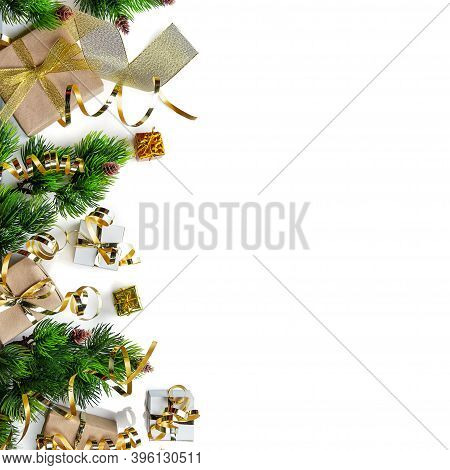 New Year Card. Bright Craft Gifts Decorated With Gold Ribbon, Christmas Trees, Tinsel And Serpentine