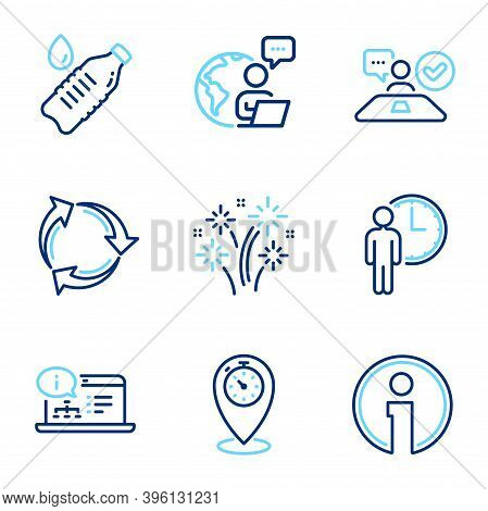 Business Icons Set. Included Icon As Online Documentation, Water Bottle, Waiting Signs. Recycle, Job