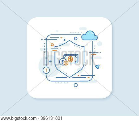 Cash Money With Coins Line Icon. Abstract Vector Button. Banking Currency Sign. Dollar Or Usd Symbol