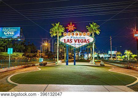 Las Vegas, Usa - Mar 11, 2019: Famous Las Vegas Sign At City Entrance, Detail By Night.