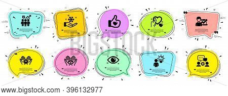 People Icons Set. Speech Bubble Offer Banners. Vector Coupon Badge. Included Icon As Business Statis