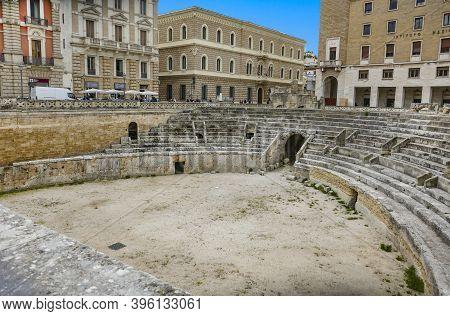 Lecce, Italy - April 23, 2019: Roman Amphitheatre, 2nd Century Ad, Piazza Sant'oronzo, Lecce.