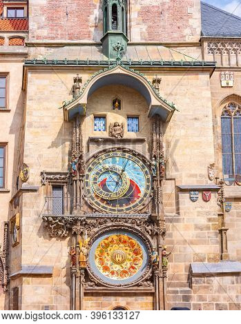 Prague Astronomical Clock (orloj) On City Hall Tower, Czech Republic