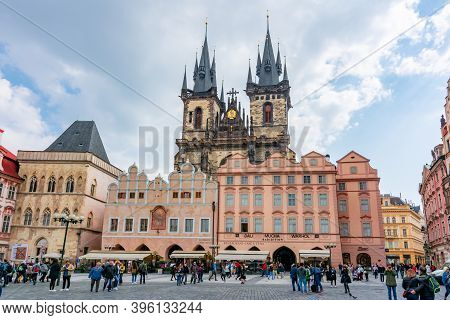 Prague, Czech Republic - May 2019: People On Old Town Square In Stare Mesto