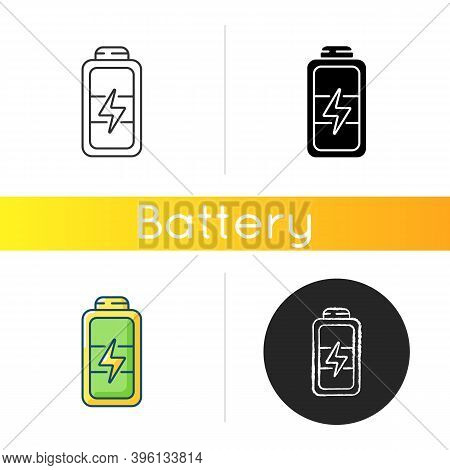 Full Battery Icon. Getting Max Capacity For Full Day. Maximum Power For Device. One Hundred Percetag