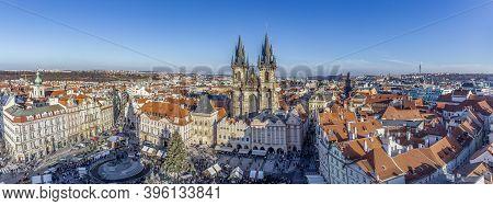 Prague, Czech Republic - January 1, 2020: Old Town Of Prague, Czech Republic. View On Tyn Church And
