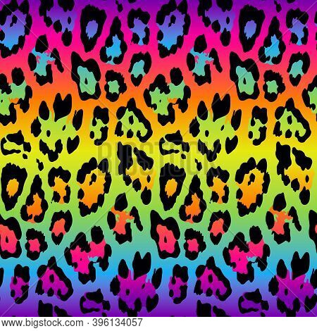 Seamless Rainbow Leopard Skin Pattern For Textile Print For Printed Fabric Design For Womenswear, Un