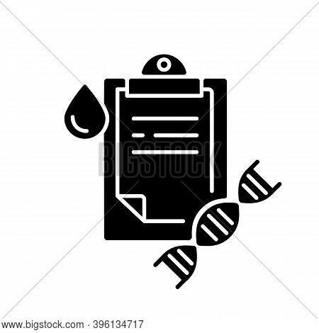 Dna Test Black Glyph Icon. Genetic Determination. Clipboard With Medical Research Result. Blood Exam