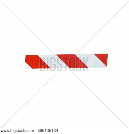 The Minus Sign Is Made From Red And White Warning Tape. Isolated On White