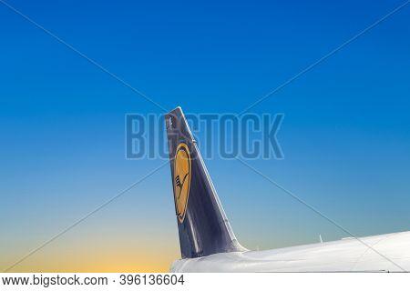 Frankfurt, Germany - March 9, 2020: Lufthansa Aircraft At Airport Frankfurt Under Blue Sky.