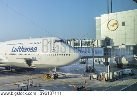 Frankfurt, Germany - March 19, 2020: Lufthansa Flight With Boeing 747 Is Ready For Loading At Frankf