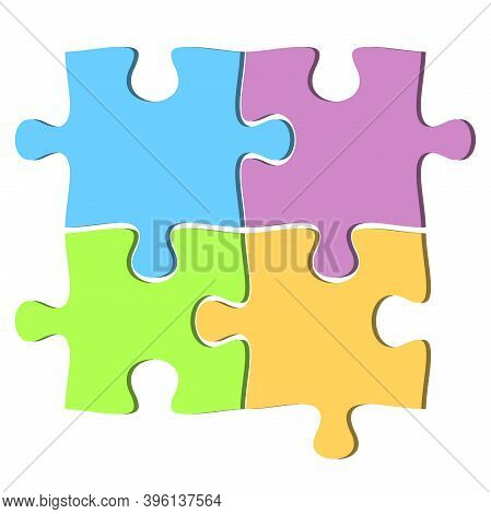 Set Of Four Jigsaw Puzzle Pieces In Different Colors Vector Illustration