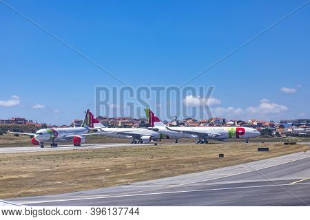 Lisbon, Portugal - June 8, 2020: Tap Aircraft Are Parked At The Apron Due To Corona Shutdown And Red