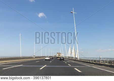 Lisbon, Portugal - June 8, 2020: Crossing The Vasco Da Gama Bridge Spanning River Tejo In Lisbon, Po