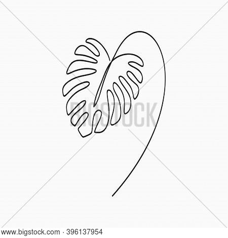 Monstera Leaf - One Line Drawing. Continuous Line Exotic Tropical Plant Monstera. Hand-drawn Minimal