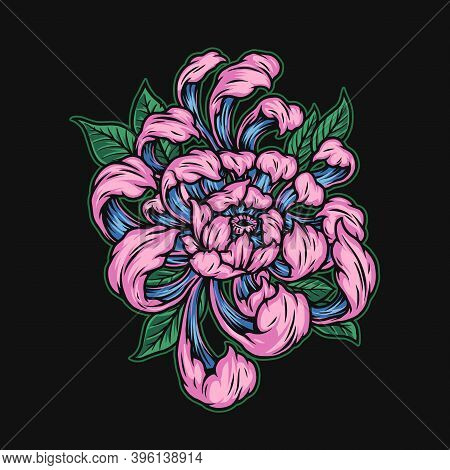 Beautiful Japanese Chrysanthemum Flower Template In Vintage Style Isolated Vector Illustration