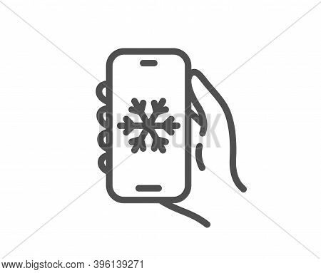 Air Conditioning Line Icon. Hand Hold Phone Sign. Cellphone With Screen Notification Symbol. Quality