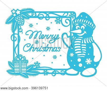 Plain Blue Card With A Funny Snowman And The Text Merry Christmas. Square Frame With Christmas Tree