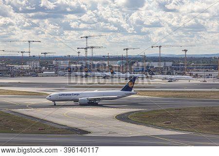 Frankfurt, Germany -july 11, 2020: Lufthansa Cargo Jet Ready  For Takeoff At Frankfurt Airport.