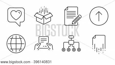 Recovery File, Article And Heart Line Icons Set. Swipe Up, Open Box And Globe Signs. Receive File, R