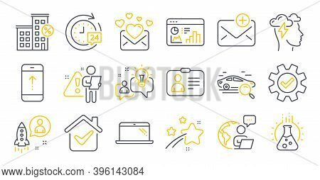 Set Of Technology Icons, Such As Service, Id Card, Chemistry Lab Symbols. Laptop, New Mail, Love Mai