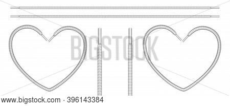 White Shoelaces, Shoe Ropes In Line And Heart Shape. Vector Realistic Set Of Footwear Or Clothing La