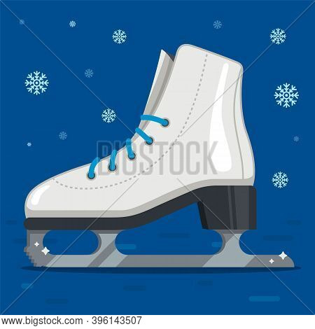 White Ice Skates For Figure Skating In Winter. Outdoor Skating Rink. Flat Vector Illustration.