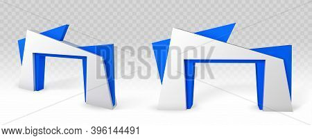 Gate Entrance To Exhibition Stand Isolated On Transparent Background. Vector Realistic Mockup Of Bla