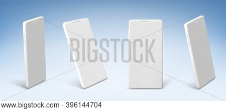 White Mobile Phone In Front And Perspective View. Vector Realistic Clay Mockup Of Modern Smartphone
