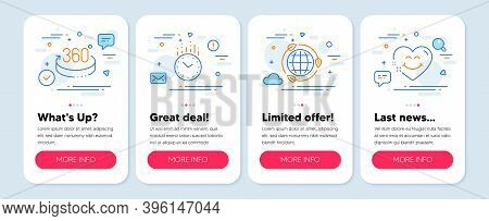 Set Of Line Icons, Such As 360 Degrees, Eco Energy, Time Symbols. Mobile Screen Mockup Banners. Smil