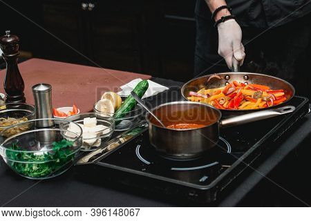Chef Making Healthy Fresh Fajitas Or Fajitos With Beef. Easy, But Tasty, Healthy. National Mexican F