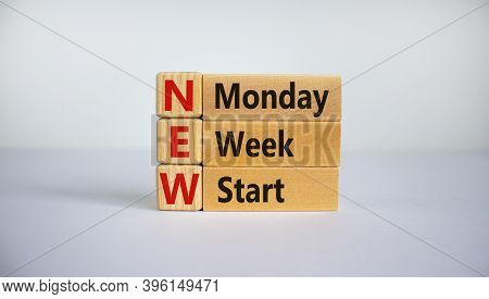 Concept Words 'new Monday Week Start' On Cubes And Blocks On A Beautiful White Background. Business