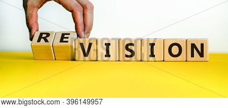 Time To Revision. Hand Turns Cubes And Changes The Word 'vision' To 'revision' Or Vice Versa. Beauti