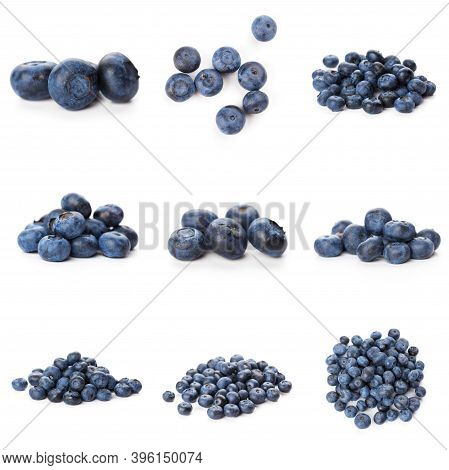 Blueberries Set Isolated On White Background. Bilberry. Clipping Path.