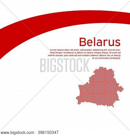 Abstract Waving New Flag Mosaic Map Of Belarus. Protest Actions. Creative Background For Design Of T