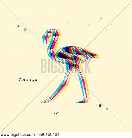 Polygon Stereoscopic Flamingo Silhouette. Low Poly Bird. Abstract Geometric Logo Icon. Triangle Grap