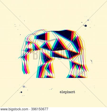 Polygon Stereoscopic Elephant Silhouette. Low Poly Animal. Abstract Geometric Logo Icon. Triangle Gr