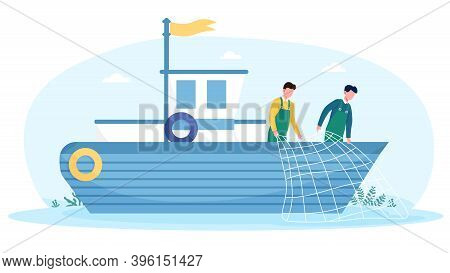 Fishermen Working On Boat With Net. Concept Of Commercial Fishery Ship In Ocean. Industrial Vessel A