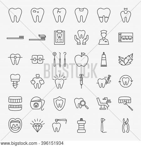 Dental Line Icons Set. Vector Thin Outline Dentist Symbols.