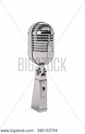 Polished Metal Retro Microphone Isolated On White Background - 3d Render