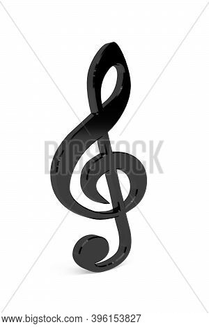 Treble Clef 3d Icon Isolated On A White Background - 3d Render