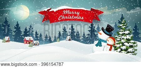 Snow Covered Hills, Houses, Snowman With Christmas Tree. Winter Christmas Landscape Vector Backgroun
