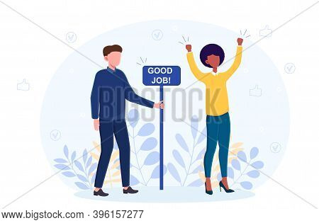 Man And Woman Standing Near Sign Good Job. Abstract Concept Of Completed Things And Task, Good Done