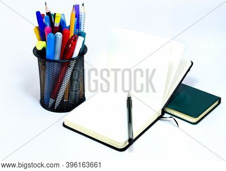 Black Open Small Notepad, Pen Lie On Unfold Notebook, Note With Blank Empty Light Pages Near Metalli