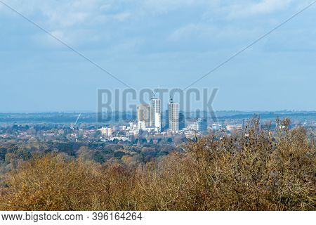 Woking, Surrey, Uk - 12th November 2020: A View Of The Woking Town Centre Skyline During The Extensi