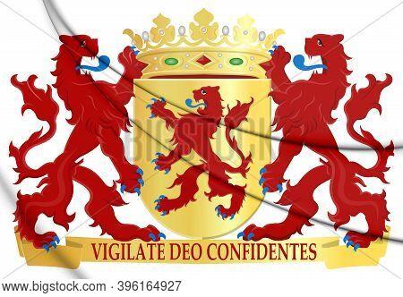 3d South Holland Coat Of Arms, Netherlands. 3d Illustration.