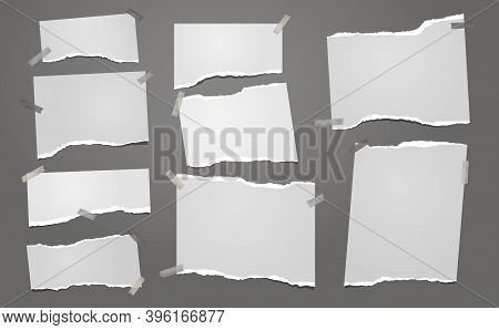 Set Of Torn White Note, Notebook Paper Pieces Stuck On Dark Gray Background. Vector Illustration