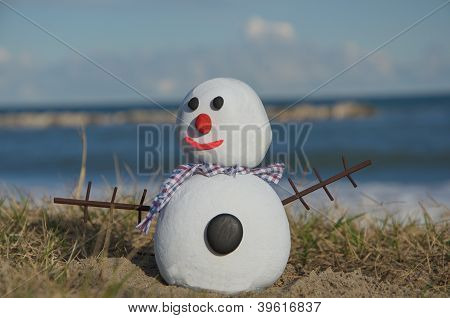 concept of snow man composed with stones