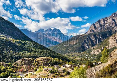 Alpine Landscape Of The French Alps, Sainte Marguerite In The Provence Alpes, France.